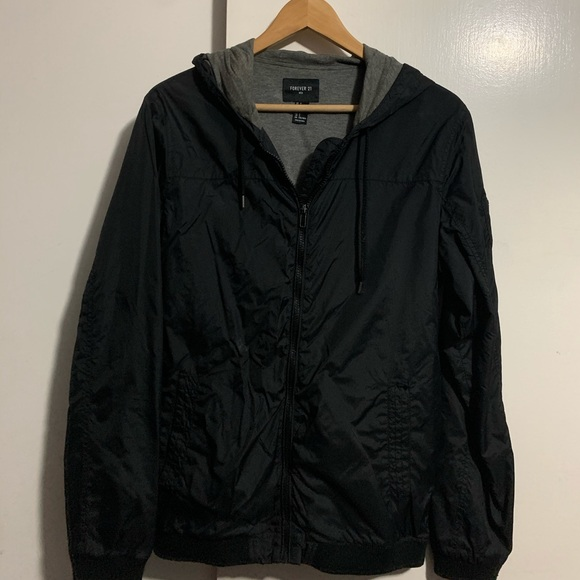 Black windbreaker with hoodie
